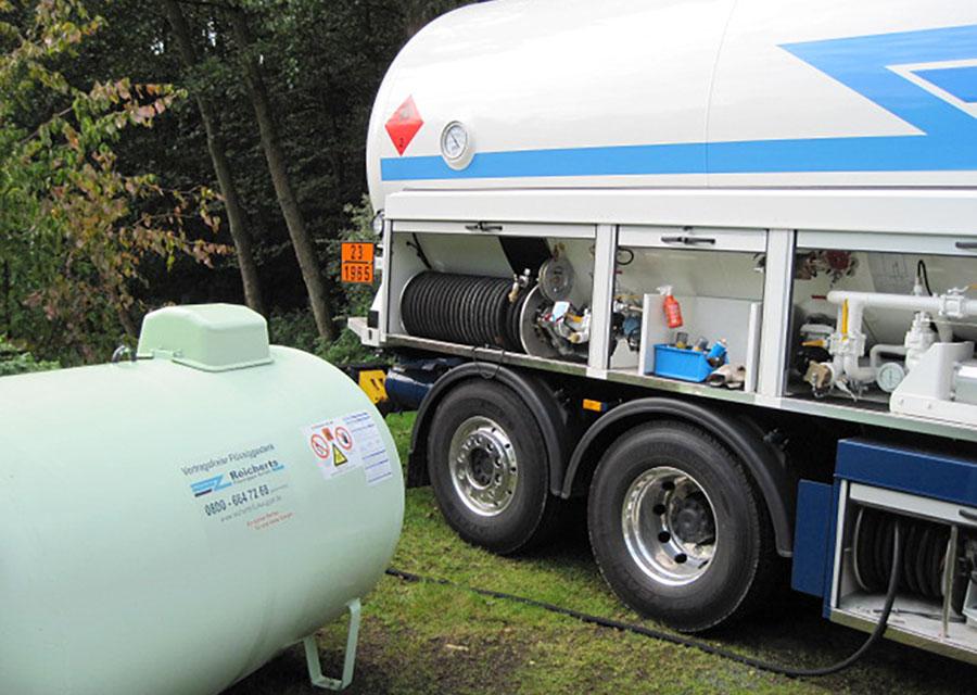 Flüssiggas Befüllung eines oberirdischen Tanks