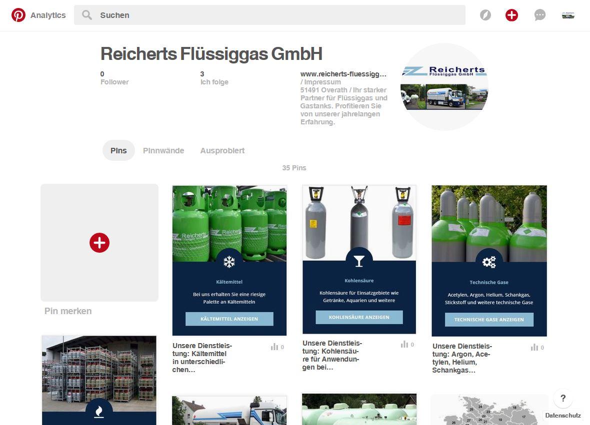 Screenshot von Reicherts Flüssiggas bei Pinterest